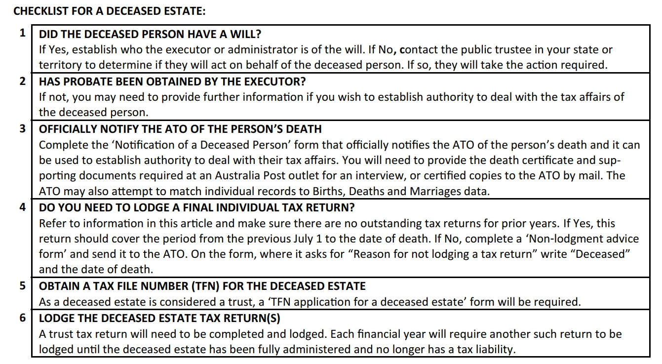 checklist for a deceased estate